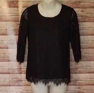 Black lace 3/4 sleeve blouse size xs